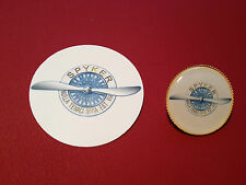 SPYKER SPORT CARS  GOLD PLATED BADGE & sticker