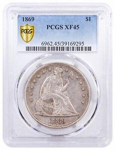 1869 Silver Seated Liberty Dollar PCGS XF45