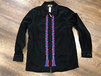 Bob Mackie Wearable Art Size Medium M BLACK EMBROIDERED Colorful JACKET