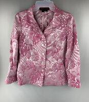 NINA MCLEMORE Jacket Women's Size 00 Pink Roses Theme Blazer Jacket Button Down
