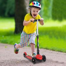 HOMCOM Foldable Kids Childrens Kick Scooter 3 Flashing Wheels Adjustable Red