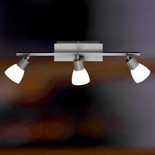 WOFI lámpara LED de techo Campo 3 llamas Níquel Cristal Blanco Ajustable 3er