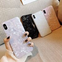 Glossy Marble Case For iPhone Bling Shell Epoxy Silicon Glitter Soft TPU Cover