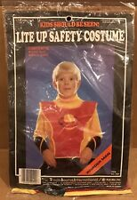 Vintage Rare HTF Invader Man Lite Up Safety Costume Kid Biz Light Up 1986