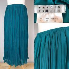 PRECIS PETITE Green Crinkle Long Skirt UK 14 Elasticated Waist Pull On Midi Maxi