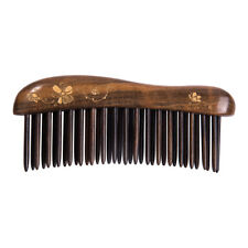 Wide Tooth Wooden Hair Comb Teeth-inserted Craft Handmade Tan Mujiang