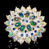 Black Opal Ring Silver 925 Sterling Luxury Design AAA Size 6 /R134979