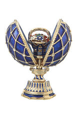 Decorative Faberge Egg with Basket of Flowers 2.8'' (7 cm) blue