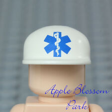 NEW Lego Minifig White EMT MEDIC CAP -Doctor Nurse Hospital Ambulance Head Hat