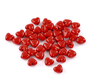 Beautiful red heart shiny beads approx 11mm x 10mm - you get 100 beads!❤️❤️