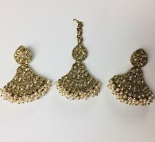 Golden Pakistani Jewelry, Indian Earings And Tikka Set Wedding Jewellery