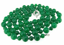 """NEW Long Charm Necklace Round Green Jade 6mm 10mm Gemstone Beads 50""""  AAA+"""