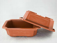 "2 Rectangular Plastic Bonsai / Succulent Pots  9.25""x 6.5""x 2.75"" - Dark Orange"