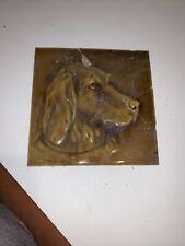Antique Victorian Fireplace Tile Olive Glazed Dog Head Damaged