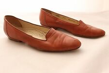 "Bally Women's ""Isabel"" Brown Leather flat Heels Shoes Size 8.5 M Made in Italy"