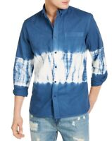 Sun + Stone Mens Shirt Blue White Medium M Tie Dye Twill Button Down $45 256