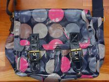 Boden Pop Spot Satchel Oilcloth Messenger Bag Diaper Saddle Polka Dot Navy Blue