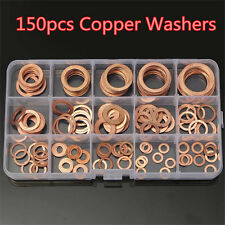 150pc Copper Washers Seal Flat Ring Hydraulic Fittings Washers Assorted Moulding