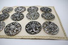 12pcs 32mm SIZE HUGE FILIGREE VINTAGE METAL BUTTONS 40s-50s ON ORIGINAL CARD