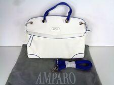 Amparo Handbag Purse Shoulder Bag White Blue Trim