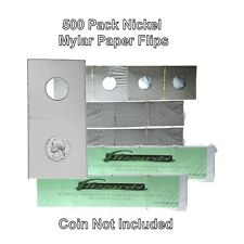 500 Cardboard/Mylar 2x2 Coin Holder Flips for Nickel 21.2mm, by Guardhouse