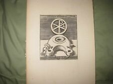 ANTIQUE 1725 ROMAN EMPIRE PAGAN RELIGIOUS ARTIFACT COPPERPLATE PRINT INCENSE NR