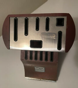 VTG Chicago Cutlery Knife Block Storage Wood Stainless Steel Plate, No Knives
