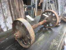 Vintage Railroad Train Cart Cast Iron Steel Wheels& Axel Steampunk Industrial
