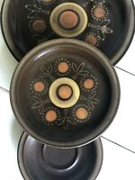 Vintage Georges Briard AZTEC Plates 3-Pc Brown Japan Stoneware VHTF 7-5/8