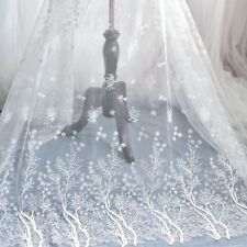 Lace Fabric White Snowflake Embroidered Mesh for Wedding Dress Bride Veil Gauze