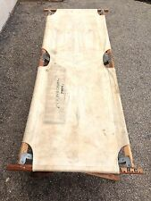 Original WWII Era American Red Cross Medical Khaki Canvas Wooden Folding Cot