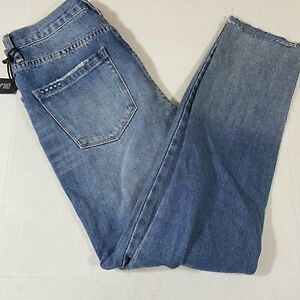 Blank NYC The Rivington High Rise Tapered Jeans Size 27 Blue Destroyed NWT