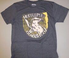 harry potter size L mens gray heather HUFFLEPUFF QIDDITCH reverse print tshirt