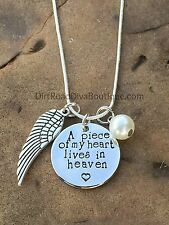 A Piece of My Heart Lives In Heaven Necklace With Angel Wings and Faux Pearl