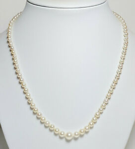 Vintage AAA 3.2-7.7mm Akoya saltwater pearl necklace and 9ct white gold clasp