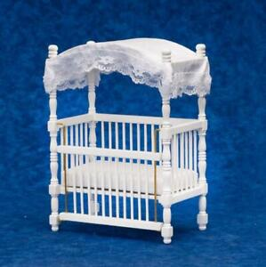 Dolls House White Wood Canopy Cot Crib Miniature 1:12 Nursery Baby Furniture