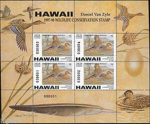 HAWAII #2M 1997 STATE DUCK STAMP MINI SHEET OF 4 HAWAIIAN DUCK  Daniel Van Zyle