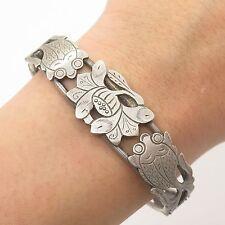 """Vtg 925 Sterling Silver Handmade Floral Design Wide Bangle Bracelet 6.5"""""""