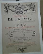 AFFICHE ANCIENNE EMPRUNT DE LA PAIX  GUERRE 1914 / 1918