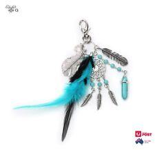 Dream Catcher Keyring Feather Keychain Silver Boho Aqua