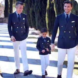 Men Navy Blue Suits Double-Breasted Blazer White Pants Wedding Groomsmen Tuxedos