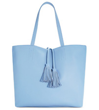 Macy's Large Tote Purse Bag faux leather Blue Travel shopper Handbag Tassels New