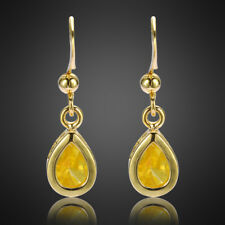 Women Yellow Citrine 18k Yellow Gold Plated Dangle Drop Hook Earrings Xmas Gift