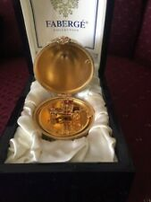 Faberge Bejeweled Yellow Enamel Guilloche Gilt Coronation Egg w/ Carriage & Box