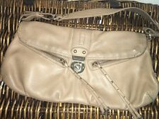 HAYDEN HARNETT Lovely Nude Mocha Leather  Long Envelope BAQUETTE Shoulder Purse