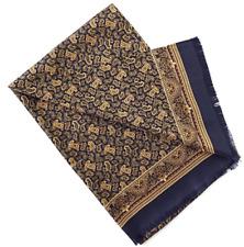 100% Silk Mulberry twill Scarf men neckerchief Wrap Paisley blue yellow MN7-8