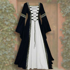 Women Vintage Celtic Medieval Floor Length Renaissance Gothic Cosplay Long Dress