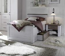 Bett Luca, Bettgestell + 1 Schubkasten, Einzelbett, Pinie Weiß, 100x200 cm