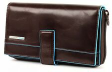 PIQUADRO Blue Square Large Purse RFID Geldbörse Mogano Braun Braun Neu