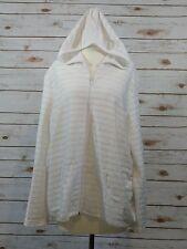 CJ Banks WHITE HOODIE ZIP UP Sweater 2X 22/24 Plus Light Weight Cotton Blend